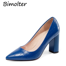 Bimolter Brand Shoes Thick Heel Ladies Pumps Patent Leather Pointed Toe  Square Heels Party Handmade Women NB065