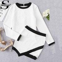 Sheinside Ringer Textured Top Overlap Skirt Set 2017 Women White Round Neck Long Sleeve Elegant Work