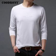 COODRONY, Camiseta clásica informal con cuello redondo para hombre, camisetas de hombre de manga larga Multicolor, camiseta suave de algodón, Camiseta básica para hombre 95017