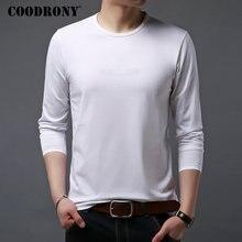 Coodrony clássico casual o neck camisa masculina de manga longa t camisa masculina multicolorido algodão t camisa de fundo homme 95017