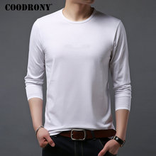 Coodrony 클래식 캐주얼 o 넥 t 셔츠 남성 긴 소매 t 셔츠 남성 여러 가지 빛깔의 tshirt 부드러운 코튼 티 bottoming 셔츠 옴므 95017