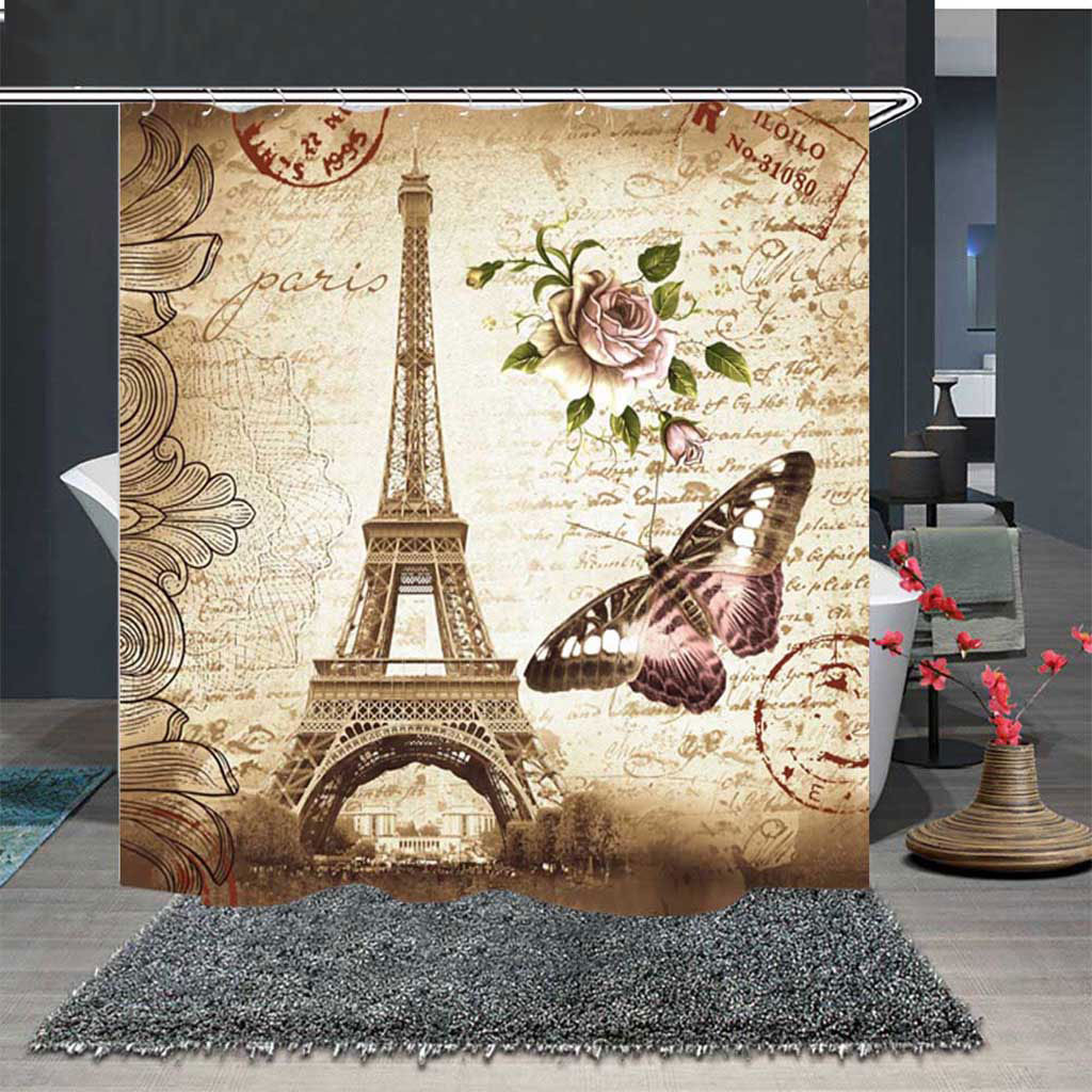 Bathroom Shower Curtain Waterproof Fabric Drapes w//12 Hooks Autumn scenery NEW