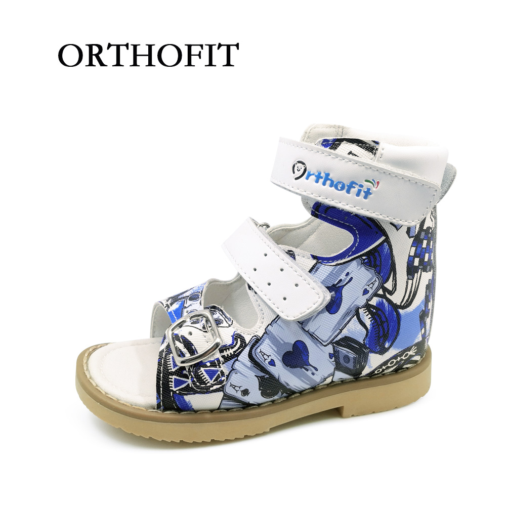 Newest Printing Leather Sandals Children Orthopedic Shoes PU Leather Sandals Boys Kids mmnun 2017 boys sandals genuine leather children sandals closed toe sandals for little and big sport kids summer shoes size26 31