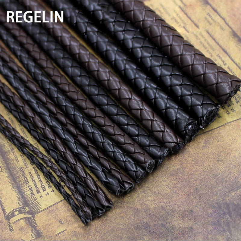 REGELIN 5meter Brown Braided PU Leather Bracelet Findings 3/4/5/6mm Round Leather Cord String Rope DIY Necklace Bracelet Making
