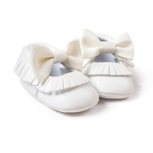0~18month baby girls boys toddler shoes butterfly knot white color newborn infantil shoes pu leather