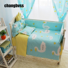 Breathable Comfortable Newborn Crib Cot Unisex Baby Bed Bumper Mattress Sheets Quilts Cover Cushion Crib Bedding Sets In a Cot