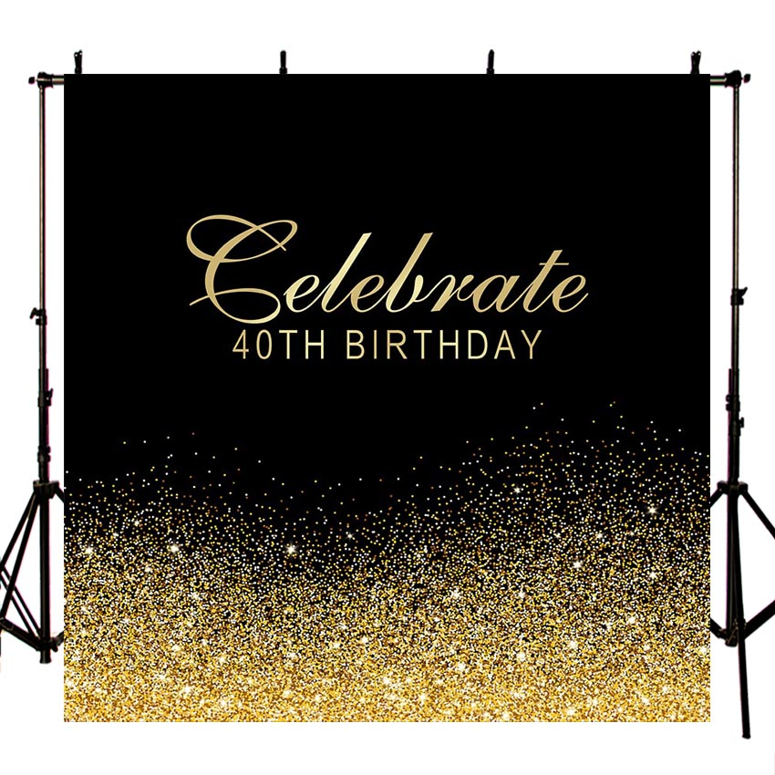 Background for Luxury Photo Studio <font><b>40th</b></font> <font><b>Birthday</b></font> Golden Diamond Party <font><b>Backdrop</b></font> Photo Shoot Dessert Table Decoration PhotoshootLV image