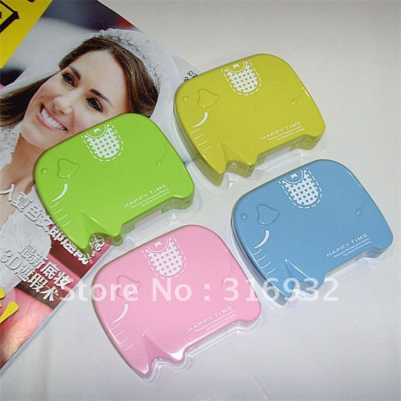 New! cute Elephant design contact lens case set with mirror