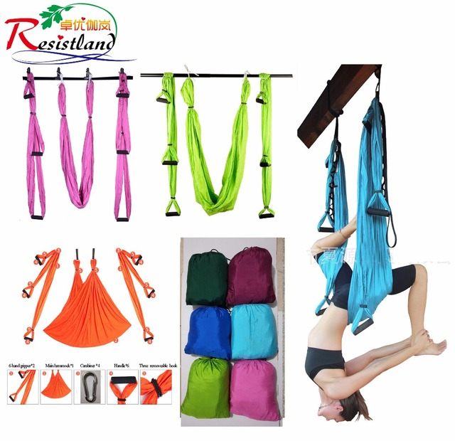 Medium image of 6 color strength de pression yoga hammock inversion trapeze anti gravity aerial traction yoga gym strap