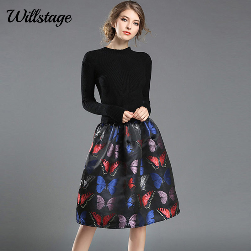 Willstage Women Elegant Winter Dress Patchwork Knitted Ball Gown Butterfly  Print Jacquard Dresses stretch 2018 Spring Vestido 006b3533a2ad