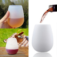 1 Piece Silicone Wine Glasses Shatterproof Reusable Unbreakable Drinkware Red Or White Wine Beer Cups Bottle