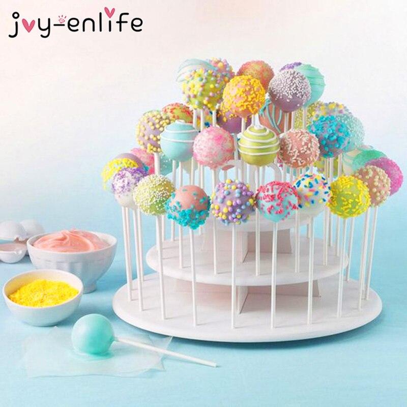1set 3 Tier 42 Holes Cake Stand Round Pop Lollipop Cupcake Display Stand Holder Wedding Decoration Birthday Party Dessert Decor in Party DIY Decorations from Home Garden