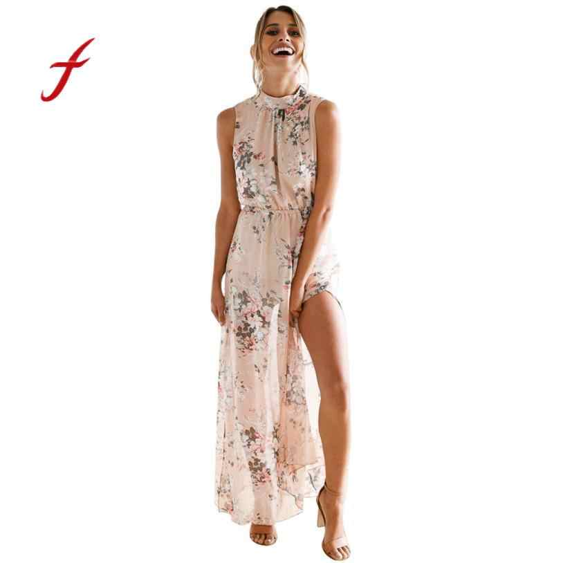 ded38617ddb feitong Best Selling High Quality Hit Color Women Chiffon Floral Print  Sleeveless Backless Casual Boho Beach
