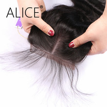 ALICE Malaysian Virgin Hair Body Wave Closure 4*4 Swiss Lace Natural Color 8-24 Inches Middle Part Human Hair Lace Closure