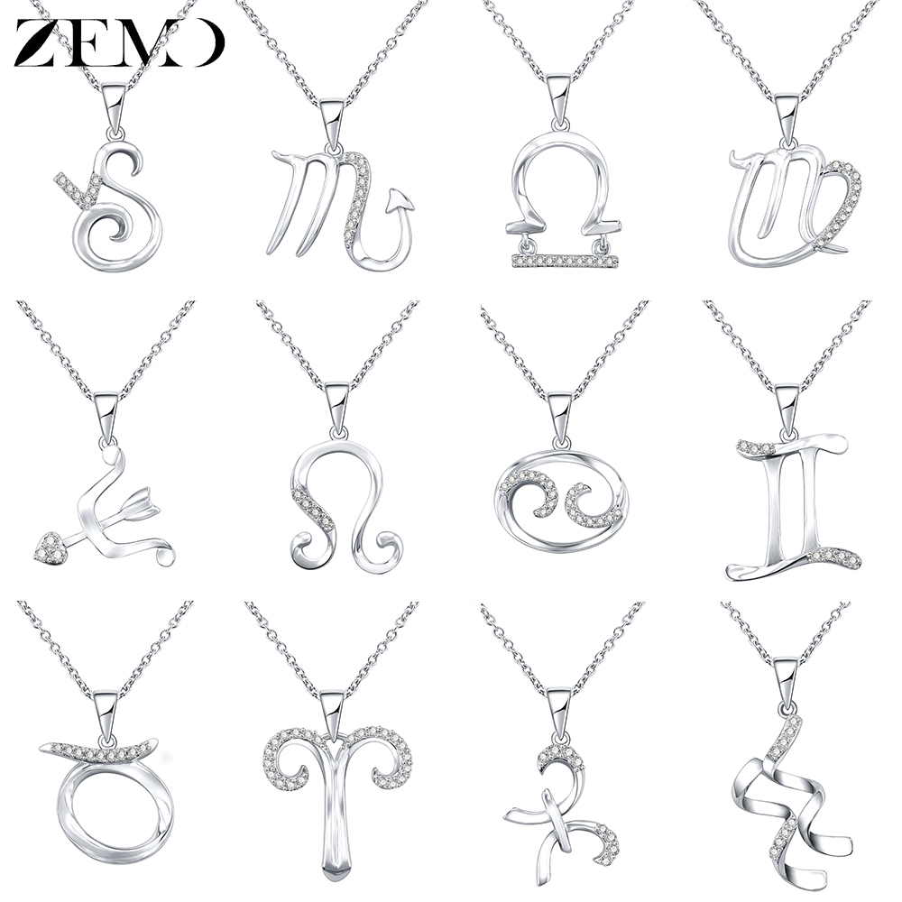ZEMO Real 925 Sterling Silver 12 Constellation Necklaces Choker Crystal Zodiac Sign Necklace Women Horoscope Astrology Necklace