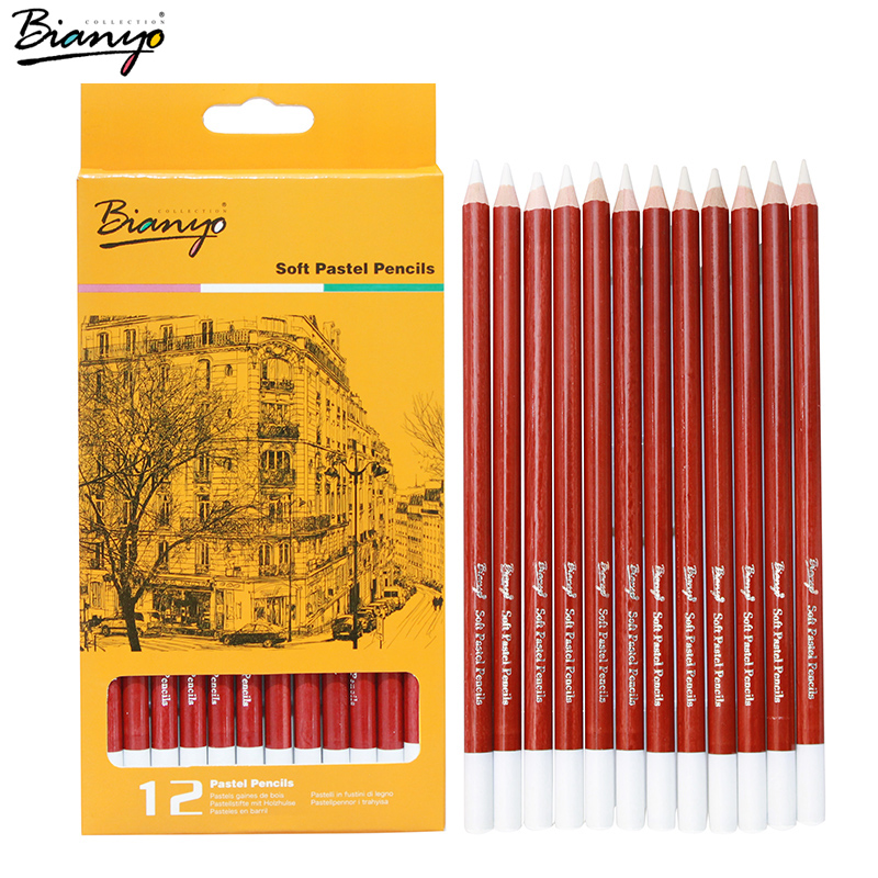 Bianyo Sketch Standard Pencil Professional Artist 12/Box Simple Pencil white Charcoal sketch For Drawing Pencils Sets Stationery