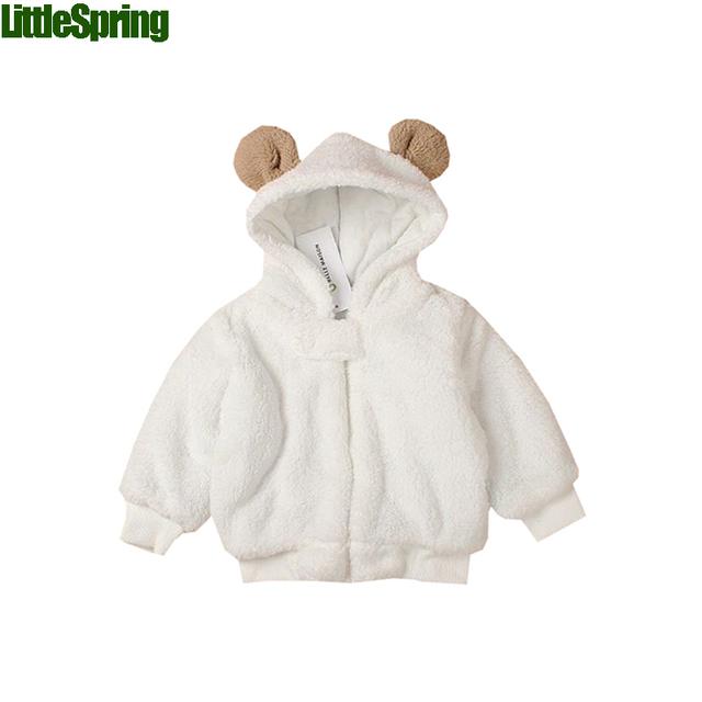 LittleSpring 2016 bebé con capucha outwear invierno de los bebés ropa de manga larga de la capa caliente ropa de bebé