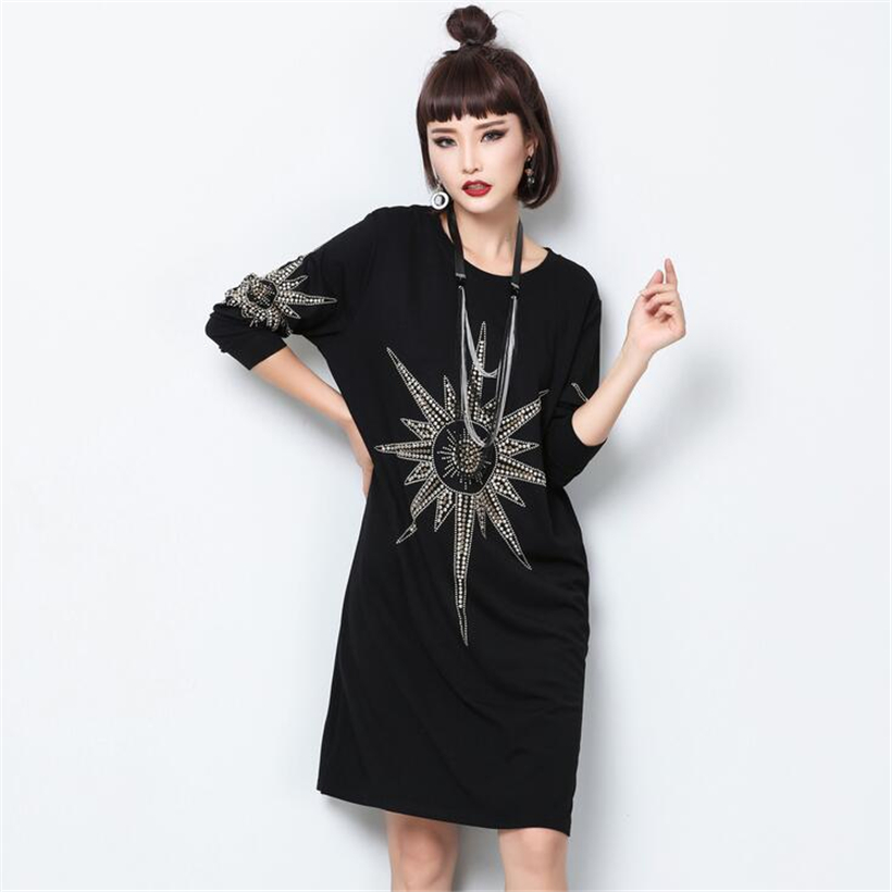 Hiver automne femmes robes Europe mode rock gros yards à manches longues résistant forage à chaud lâche tenue décontractée robe Vintage