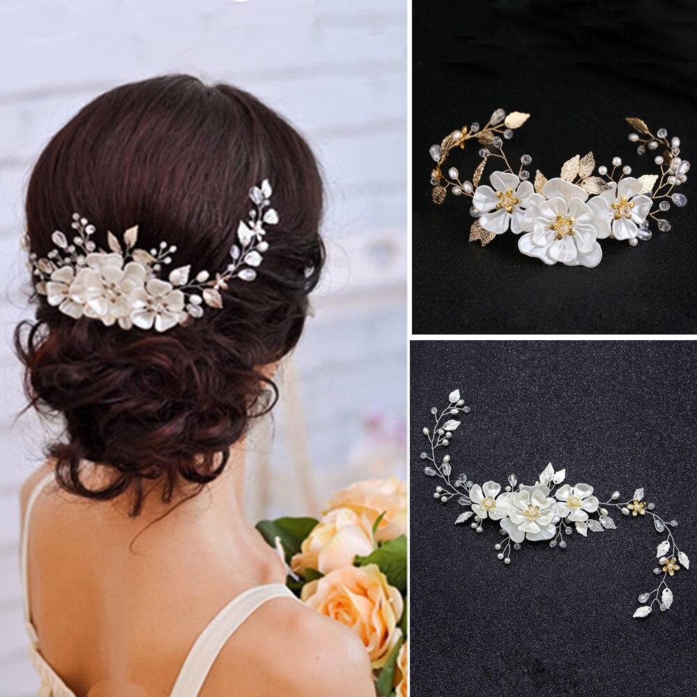 Elegant Wreath Pearl Flower Crystal Rhinestone Hair Band Wedding Headband Tiara