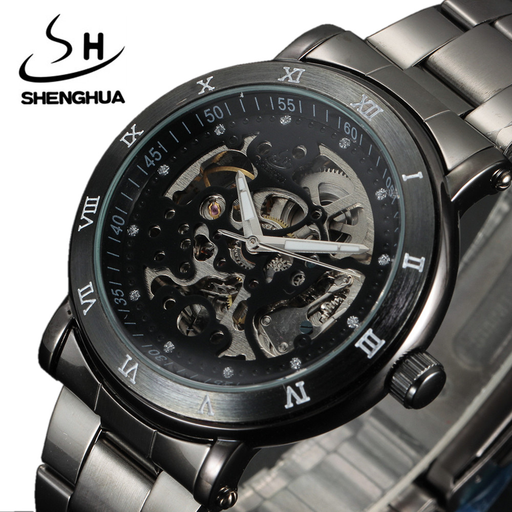 SHENHUA Men's Automatic Wristwatch Classic Luxury Transparent Skeleton Mechanical Watches Brand Military Watch Relogio Masculino cawanerl car rubber seal strip kit noise insulation seal edge trim weatherstrip self adhesive for jeep compass patriot liberty