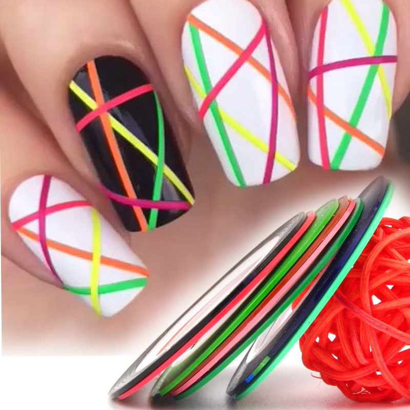 8pcs/lot 1mm Colorful Nail Striping Tape Line Women Nail Art Stickers Decals DIY Manicure Tools Nail Tips Decorations WY631 14 rolls glitter scrub nail art striping tape line sticker tips diy mixed colors self adhesive decal tools manicure 1mm 2mm 3mm