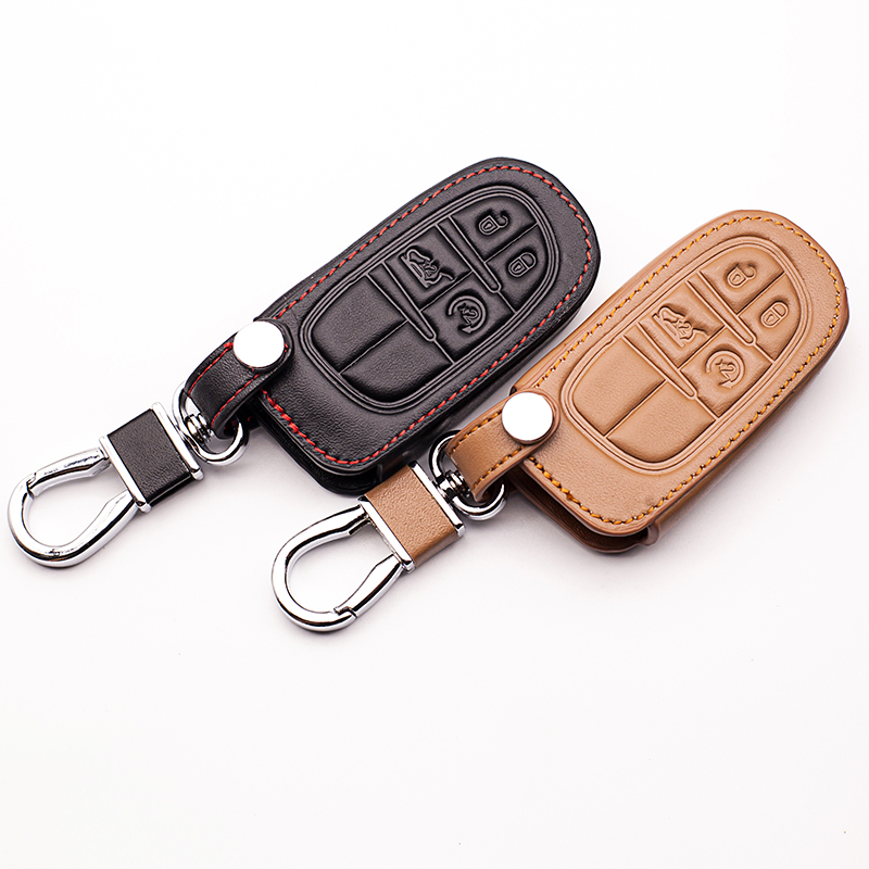 Genuine Leather Car Keychain Key Case Cover For Fiat For Jeep Grand Cherokee Compass Patriot Dodge Journey Chrysler 300C Car Key