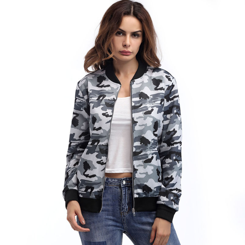 Women Autumn Fashion Camouflage bomber   Basic     jacket   women female Baseball coat Casual slim Army Green Streetwear outerwear
