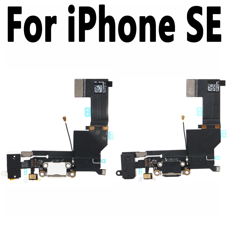100% New Black White USB Charger Dock Connector Plug Flex Cable With Headphone Jack For Iphone SE Replacement Power Port