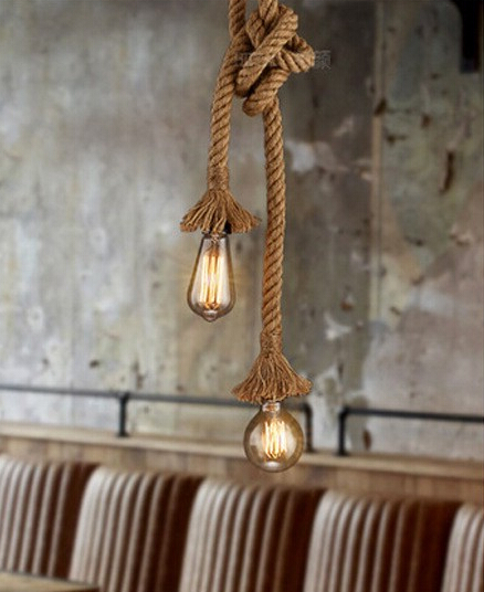 1/2 Head American Vintage Loft Style Hemp Rope Pendant Light Restaurant Decoration Light Living Room Retro Light Free Shipping