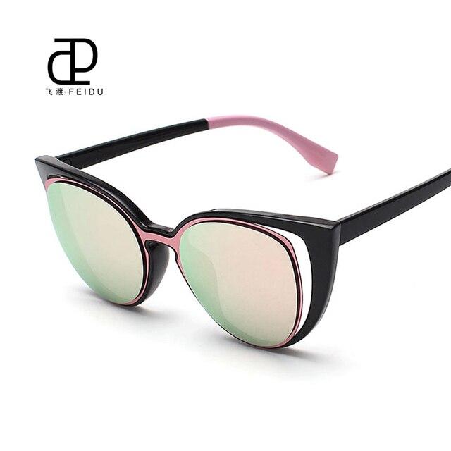 6e4cdcb9f Feidu الأزياء مثير القط العين النظارات النساء العلامة التجارية مصمم خمر  طلاء معكوسة نظارات الشمس gafas