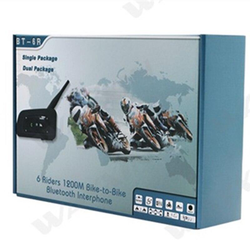 Wayxin New2PCS R6 1200 M moto casque Bluetooth Interphone jusqu'à 6 coureurs sans fil étanche Interphone casques GPS MP3