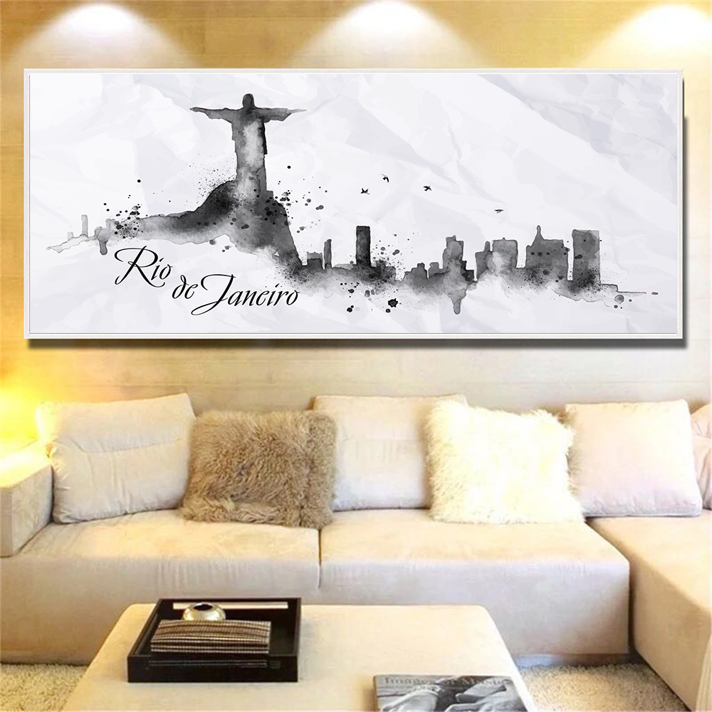 Black White Wall Art City Poster Watercolor NewYork Singapore Prague Tokyo Wall Pictures for Living Room Canvas Painting Cuadros