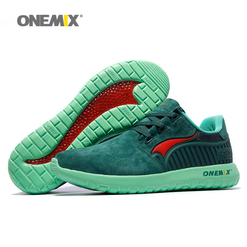 ONEMIX Man Running Shoes For Men 2019 Nice Retro Suede Run Athletic Trainers Navy Pig Skin Sports Shoe Outdoor Walking Sneakers