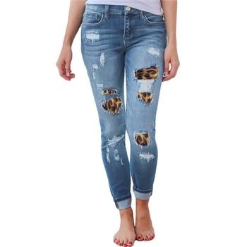 High Waist Jeans for Women Fashion Slim Hole Leopard Patchwork Long Jeans Sexy Ripped Denim jeans pants push up jeans boyfriend 4