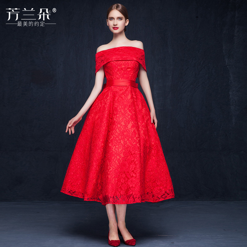967022f407b7 Romance Off the Shoulder Bow Lace Red Wedding Dresses Tea Length Ball Gowns  vestidos de novia-in Wedding Dresses from Weddings & Events on  Aliexpress.com ...