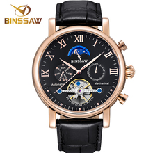 купить BINSSAW Men Automatic Mechanical Watch Luxury Brand Tourbillon Waterproof Mens Leather Business Sports Watches Relogio Masculino дешево