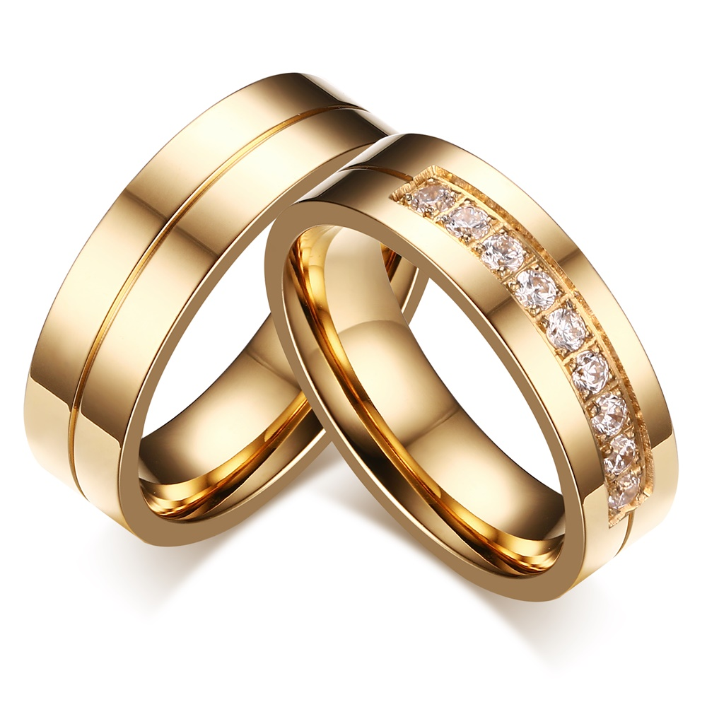 LIN STUDIO High Quality CZ Wedding Engagement Ring Set Gold Colour 316L Stainless Steel Rings For Couples CR-054