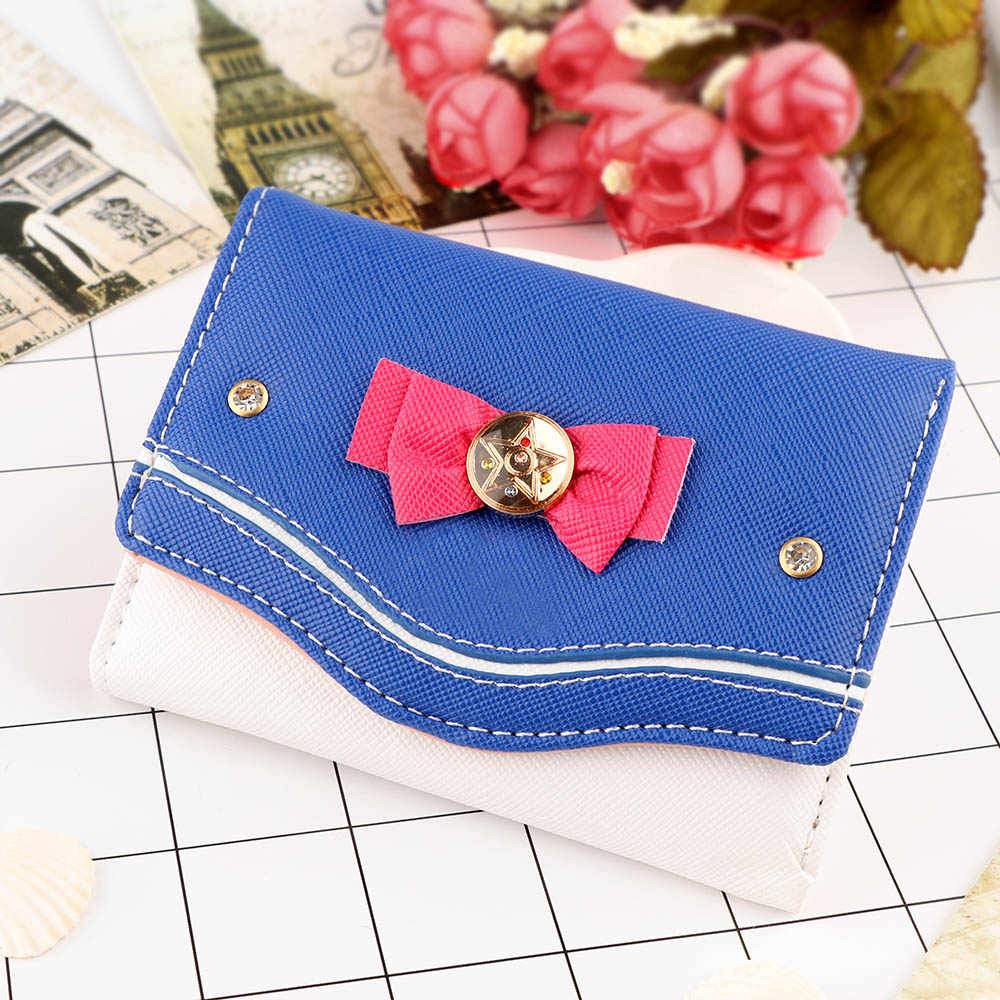 eadd62fc2 Fahsion Women Sailor Moon Wallet Lady Short Wallets Female Candy Color Bow  PU Leather for Card