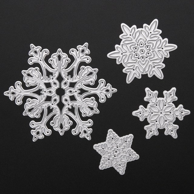 4pcs Christmas Snowflake Metal Cutting Dies Stencils for Scrapbooking Album Paper Card Diary Hand Craft Template Decorative