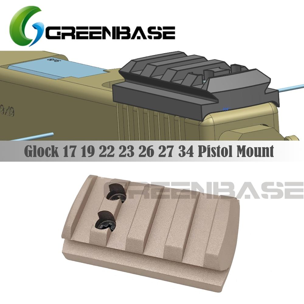GREENBASE Glock Mount Plate Glock 17 19 22 23 26 27 34 Rail Install For Pistol Red Dot Sight With 20mm Picatinny Rail