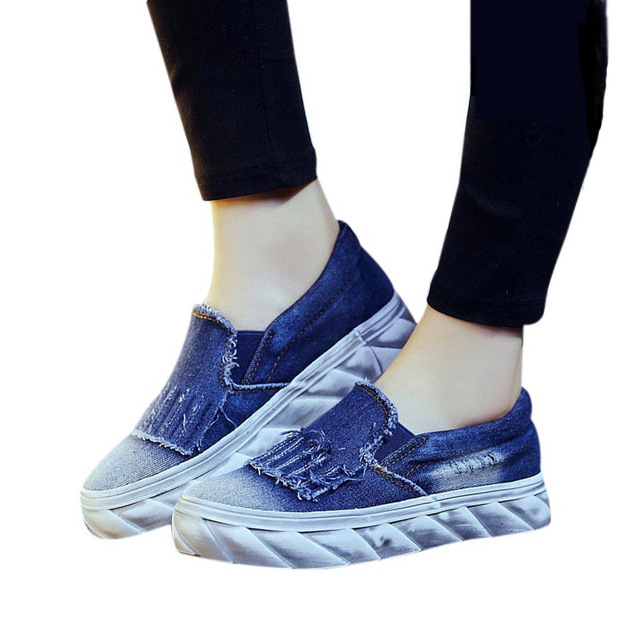 New Women Flats 2016 Casual Jean Canvas Casual Slip-On Round Toe Thick Sole Vintage Shoes KJ314