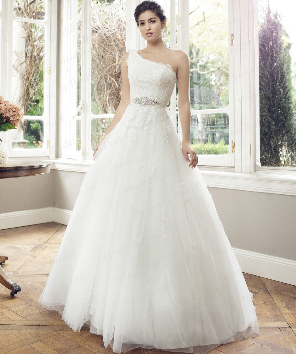 Clical Women S Angel Wedding Dress Ball Gown Lace Up Back Liqued Sweep Train Tulle Netting One Shoulder Bridal M1403 In Dresses From