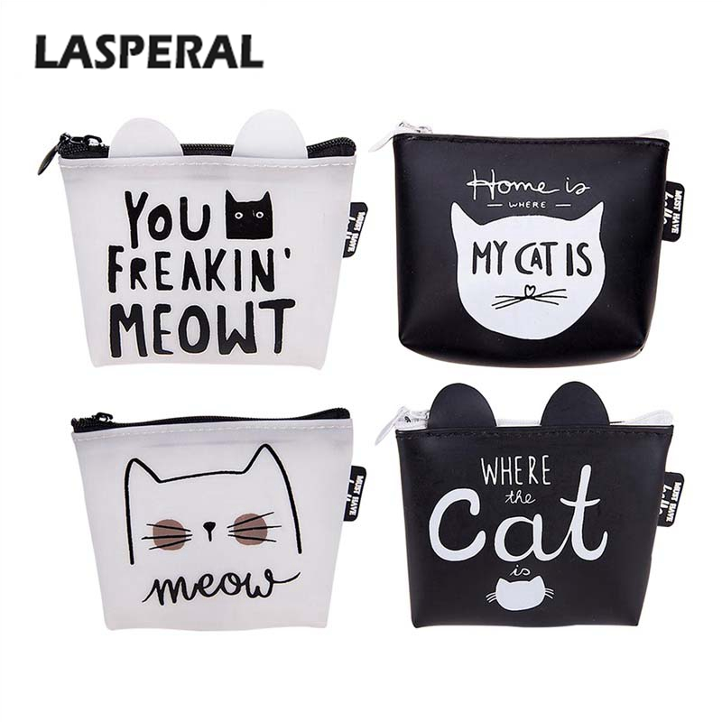 LASPERAL Money Storage Gift Wallets Women Mini Cute Cat Letter Coin Purse Change Purse Bag Silicone Small Simple Storage Bags