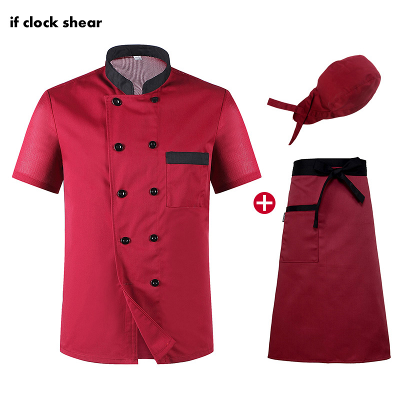 Short Sleeve Chef Restaurant Uniform Hotel Kitchen Clothes Workwear Unisex Chef Shirt Breathable Thin Jacket + Hat +Apron Summer