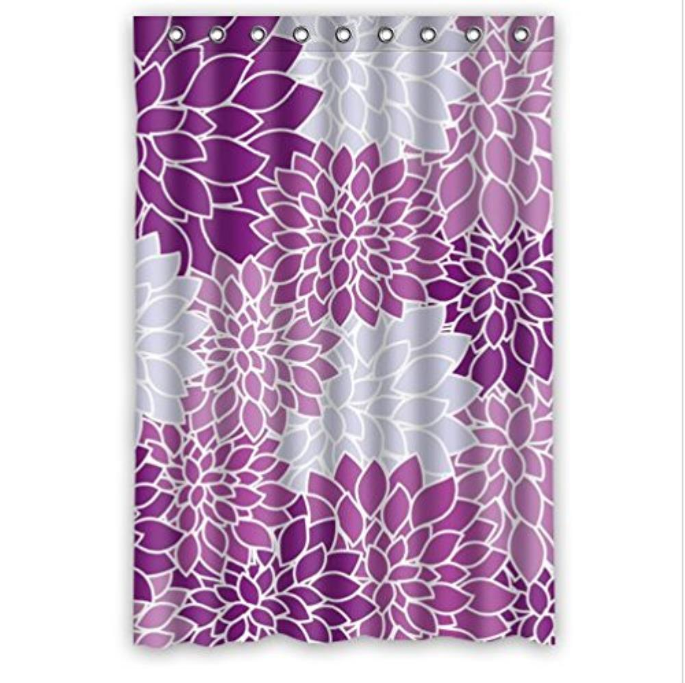 purple and light blue Dahlia floral Custom Shower Curtain Pattern Waterproof washable