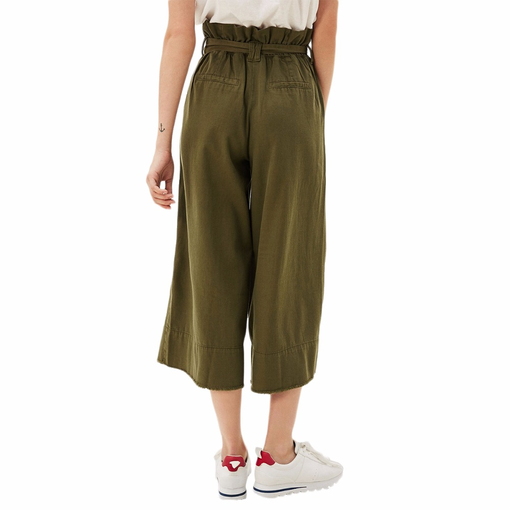 edbb148d35c927 Khaki ring belted high waisted crop wide leg paperbag pants for women ladies  OL stretchy waist calf length palazzo trousers