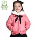 Pcora niños niñas otoño/invierno de algodón acolchado chaquetas gruesas capa de la cremallera de cierre rosa/sky blue 3 t ~ 14 t teens girls ropa