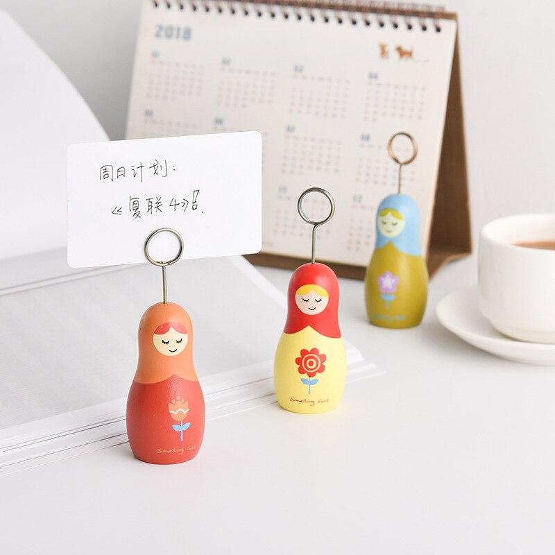 1pc Kawaii Wooden Russian Gril Doll Matryoshka Design Memo Holder Table Decoration Card Holder Note Clip