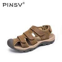 PINSV Summer Mens Sandals Genuine Leather Sandals Men Shoes Casual Outdoor Beach Sandalias Hombre Size 38