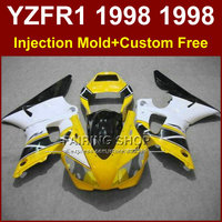 Injection Yellow white fairings kit for YAMAHA YZF R1 YZF1000 98 99 motorcycle fairing parts R1 1998 1999 YZF R1 +7Gifts